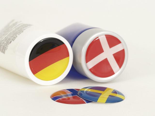 Voorbeeld van doming stickers.