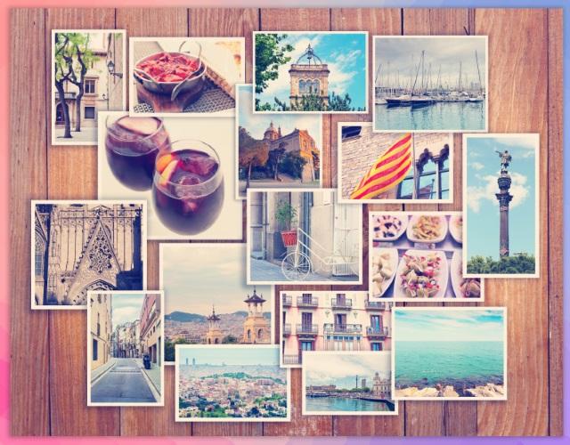 Collage van foto's. Met fotostickers kun je leuke collega's maken op bijvoorbeeld een muur.