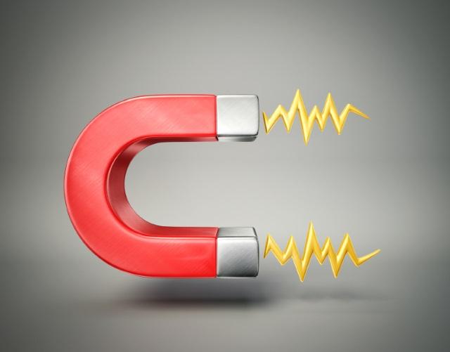 Een plaatje van een magneet. Magneetfolie plakt aan de ondergrond door de magnetische lading.
