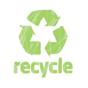 Logo van recyclen. Milieuvriendelijke stickers worden van gerecycle materialen gemaakt.